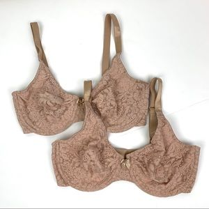 Wacoal Set of 2 Bras 34D Underwire No Padding Nude
